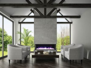 Interior of living room with  armchairs and fireplace 3D renderi