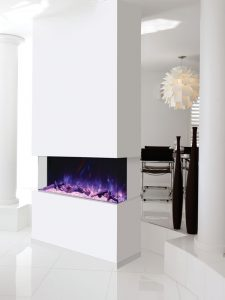 A modern white fireplace that can be seen from all sides
