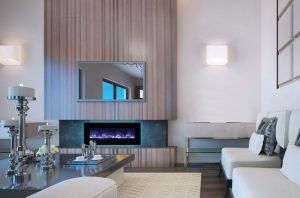 Interior of designer living room with beautiful view from window