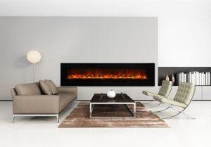 Grey contemporary gas fireplace interior, living room